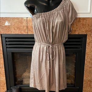 Ya One Shoulder Taupe Dress